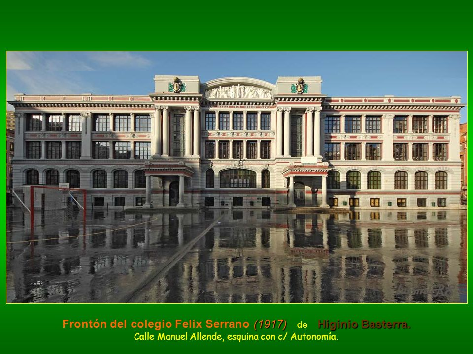 Frontón del colegio Felix Serrano (1917) de Higinio Basterra.