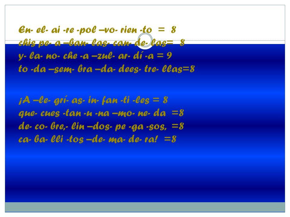En- el- ai -re -pol –vo- rien -to = 8 chis pe- a –ban- las- can- de- las= 8 y- la- no- che -a –zul- ar- dí -a = 9 to -da –sem- bra –da- dees- tre- llas=8 ¡A –le- grí- as- in- fan -ti -les = 8 que- cues -tan -u -na –mo- ne- da =8 de- co- bre,- lin –dos- pe -ga -sos, =8 ca- ba- lli -tos –de- ma- de- ra.