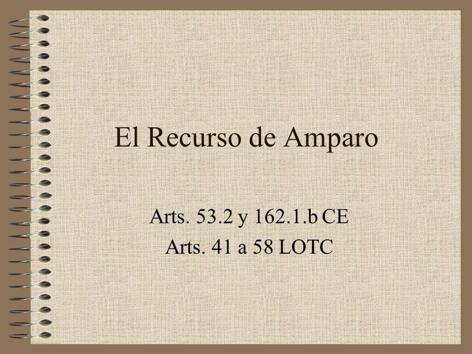 El Recurso de Amparo Arts. 53.2 y 162.1.b CE Arts. 41 a 58 LOTC