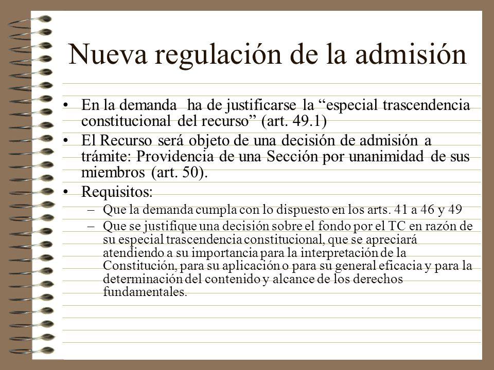 Nueva regulación de la admisión