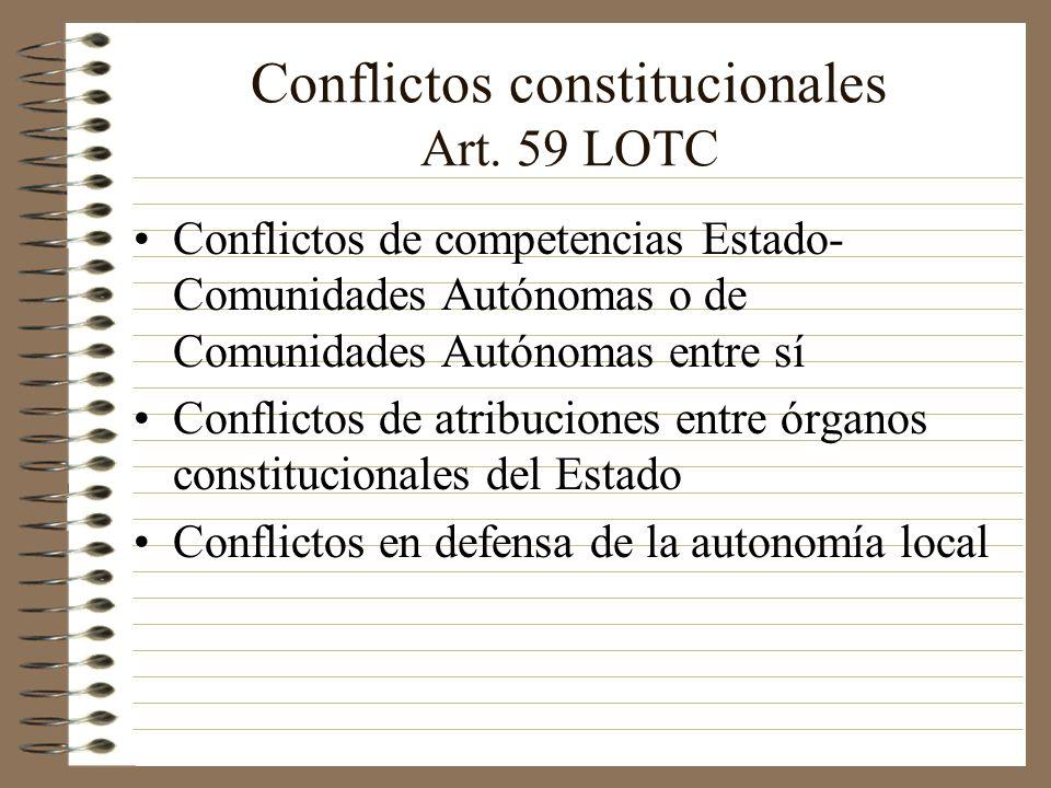 Conflictos constitucionales Art. 59 LOTC