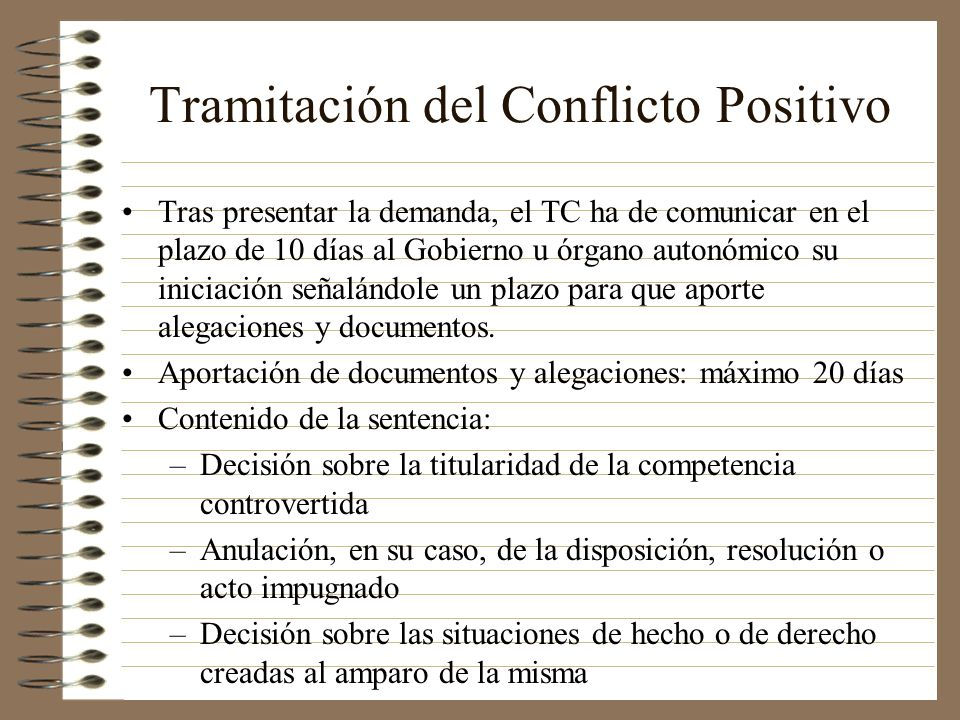 Tramitación del Conflicto Positivo