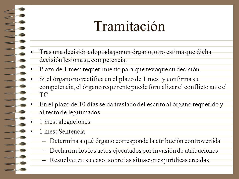 Tramitación Tras una decisión adoptada por un órgano, otro estima que dicha decisión lesiona su competencia.