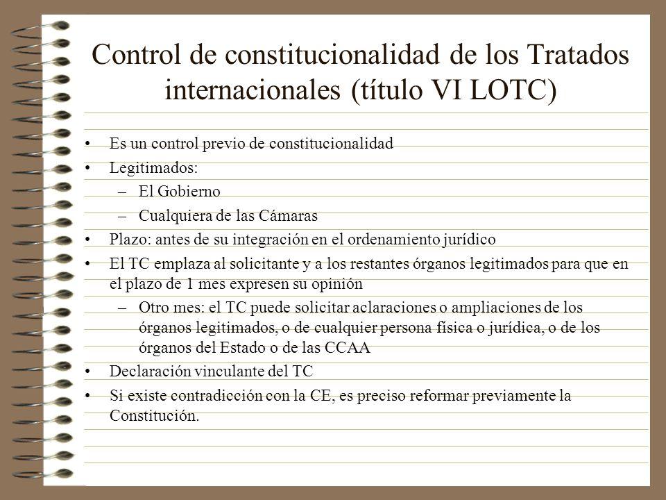 Control de constitucionalidad de los Tratados internacionales (título VI LOTC)