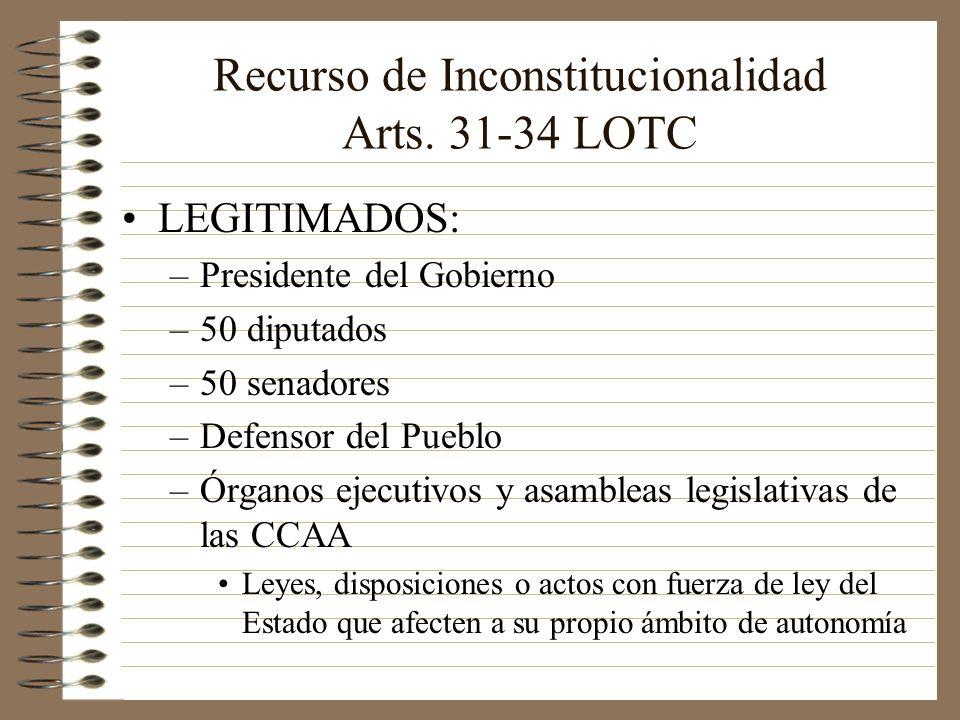 Recurso de Inconstitucionalidad Arts. 31-34 LOTC