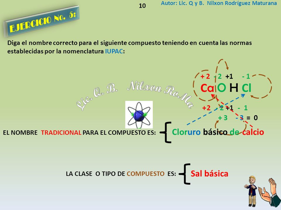 Lic. Q. B. Nilxon RoMa Ca O H Cl EJERCICIO No. 5: Cloruro básico de