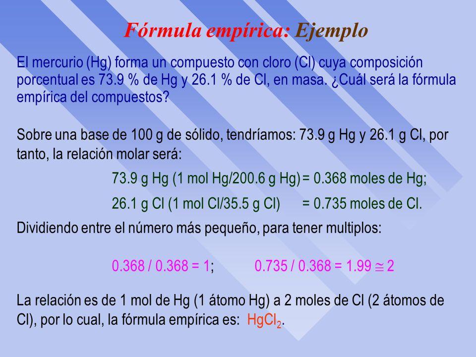 Fórmula empírica: Ejemplo