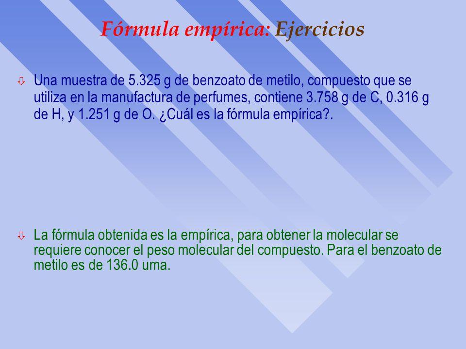 Fórmula empírica: Ejercicios