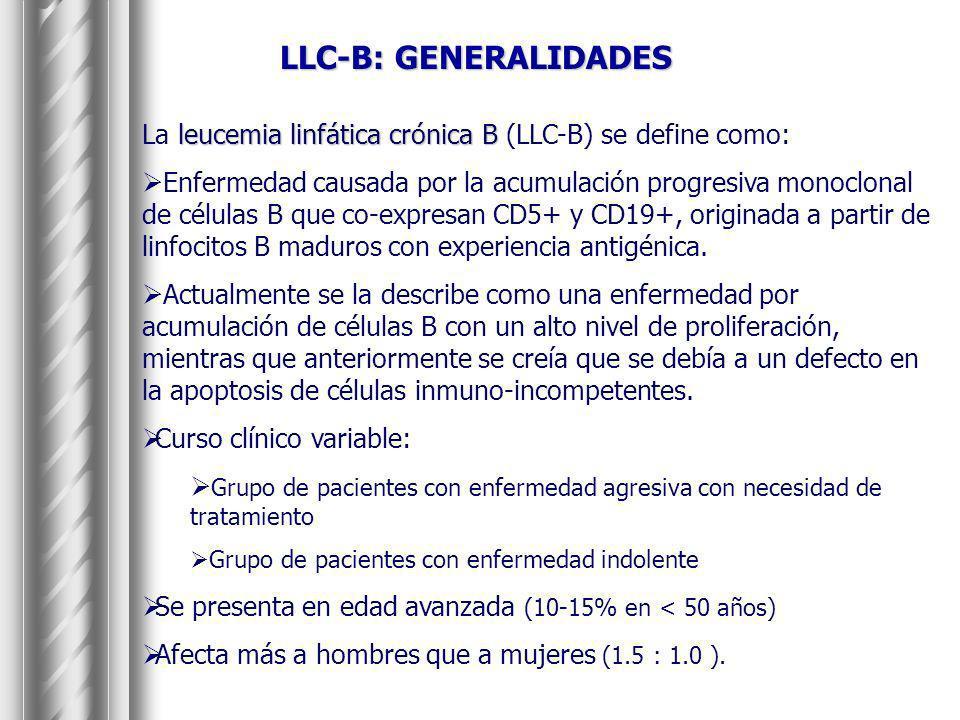 LLC-B: GENERALIDADES La leucemia linfática crónica B (LLC-B) se define como: