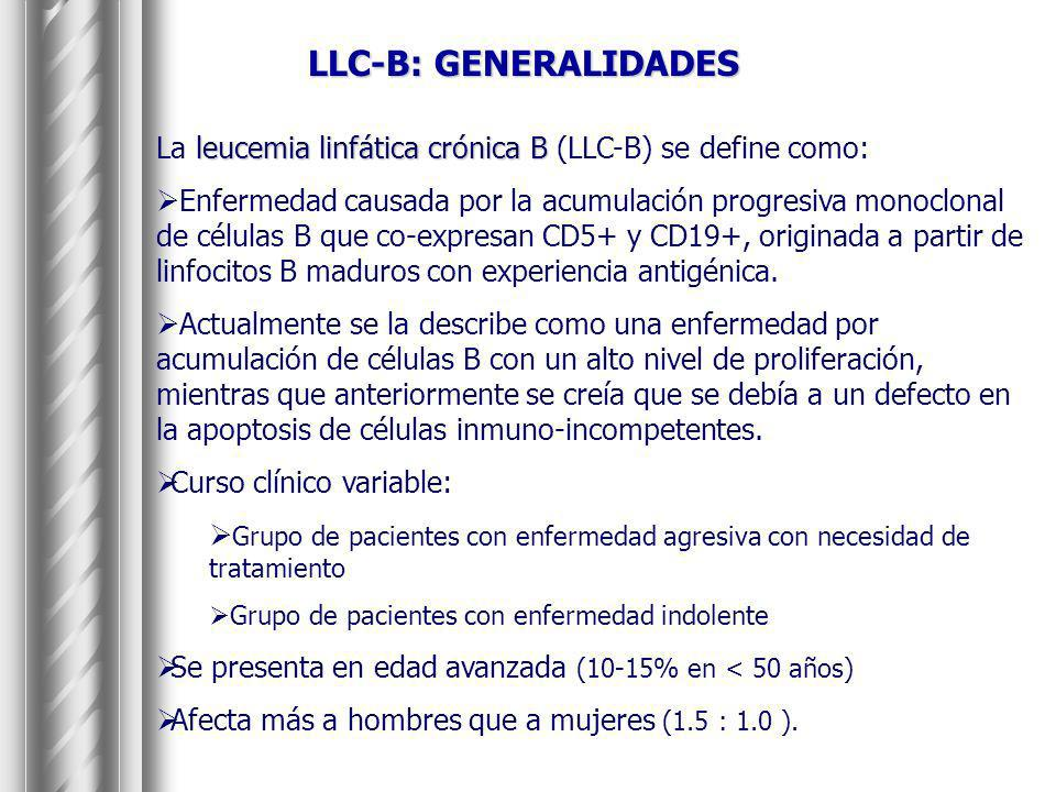LLC-B: GENERALIDADESLa leucemia linfática crónica B (LLC-B) se define como: