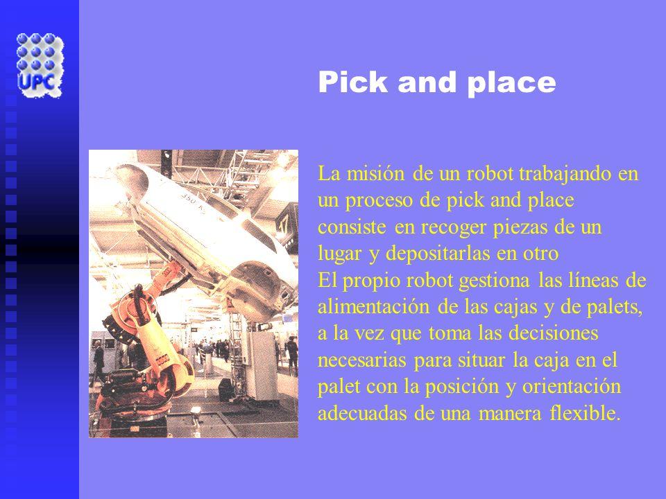 Pick and place La misión de un robot trabajando en un proceso de pick and place consiste en recoger piezas de un lugar y depositarlas en otro.