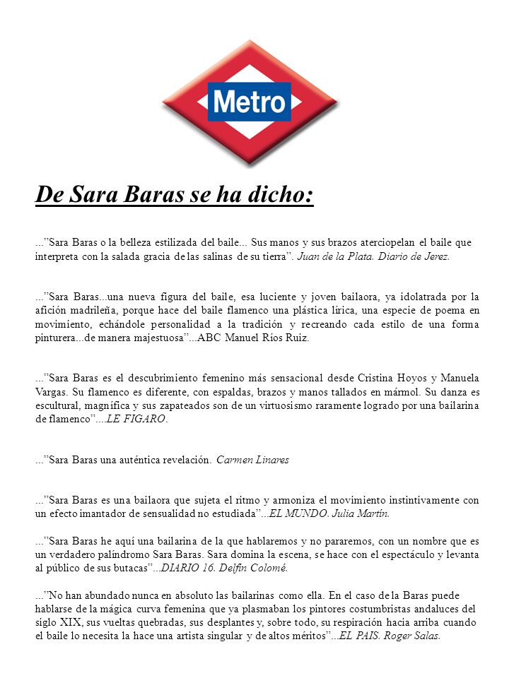 De Sara Baras se ha dicho: