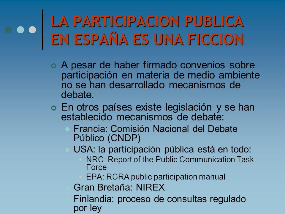 LA PARTICIPACION PUBLICA EN ESPAÑA ES UNA FICCION