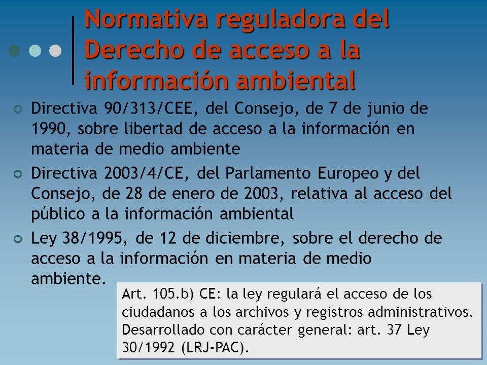 Normativa reguladora del Derecho de acceso a la información ambiental