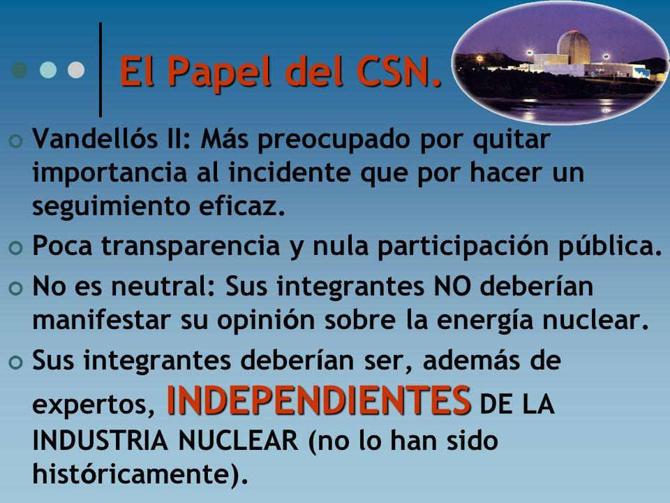 El Papel del CSN. Vandellós II: Más preocupado por quitar importancia al incidente que por hacer un seguimiento eficaz.
