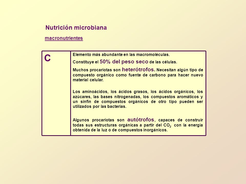 C Nutrición microbiana macronutrientes