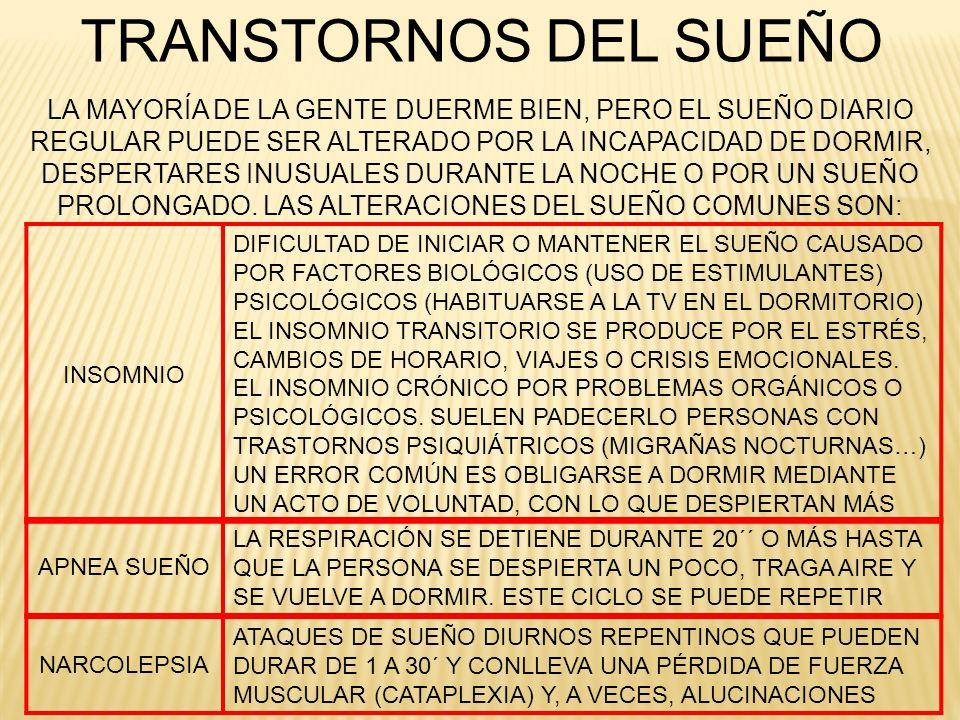 TRANSTORNOS DEL SUEÑOLA MAYORÍA DE LA GENTE DUERME BIEN, PERO EL SUEÑO DIARIO. REGULAR PUEDE SER ALTERADO POR LA INCAPACIDAD DE DORMIR,