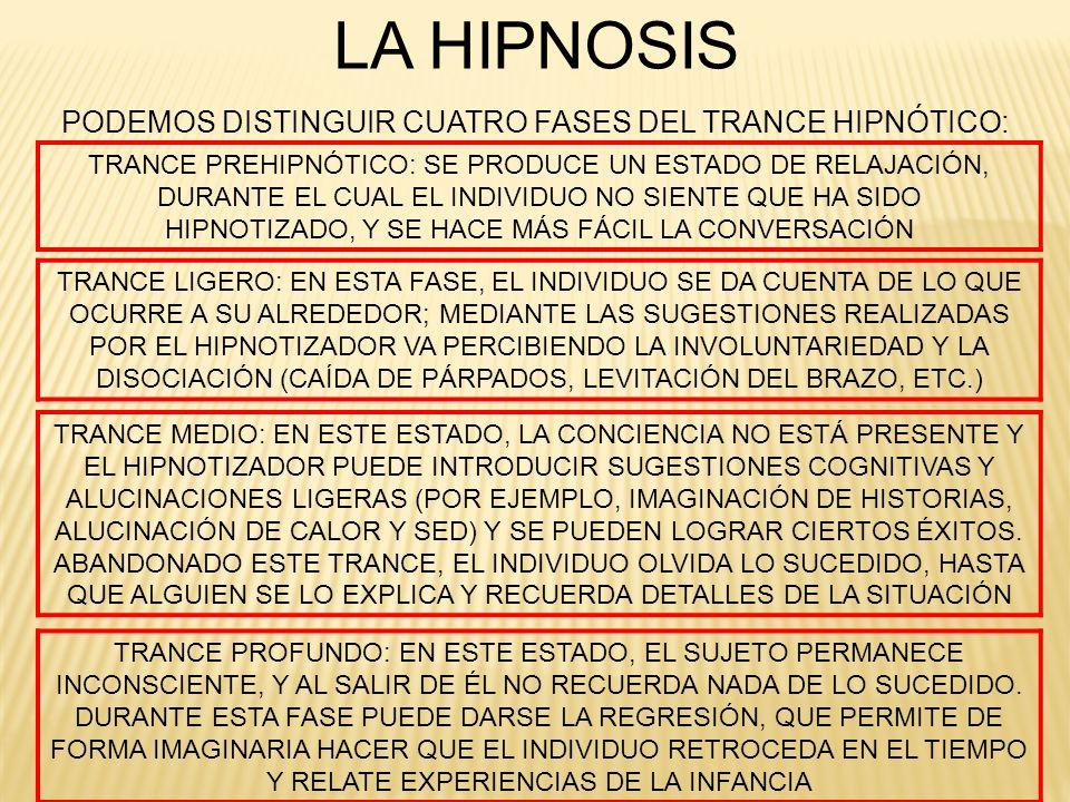 LA HIPNOSIS PODEMOS DISTINGUIR CUATRO FASES DEL TRANCE HIPNÓTICO: