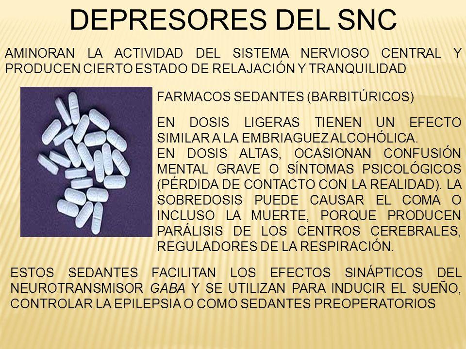 DEPRESORES DEL SNC AMINORAN LA ACTIVIDAD DEL SISTEMA NERVIOSO CENTRAL Y PRODUCEN CIERTO ESTADO DE RELAJACIÓN Y TRANQUILIDAD.