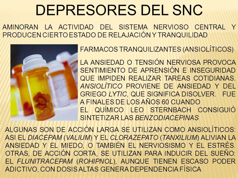 DEPRESORES DEL SNCAMINORAN LA ACTIVIDAD DEL SISTEMA NERVIOSO CENTRAL Y PRODUCEN CIERTO ESTADO DE RELAJACIÓN Y TRANQUILIDAD.