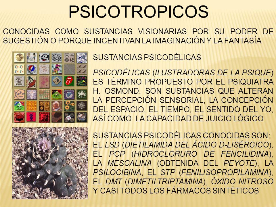 PSICOTROPICOS CONOCIDAS COMO SUSTANCIAS VISIONARIAS POR SU PODER DE SUGESTIÓN O PORQUE INCENTIVAN LA IMAGINACIÓN Y LA FANTASÍA.