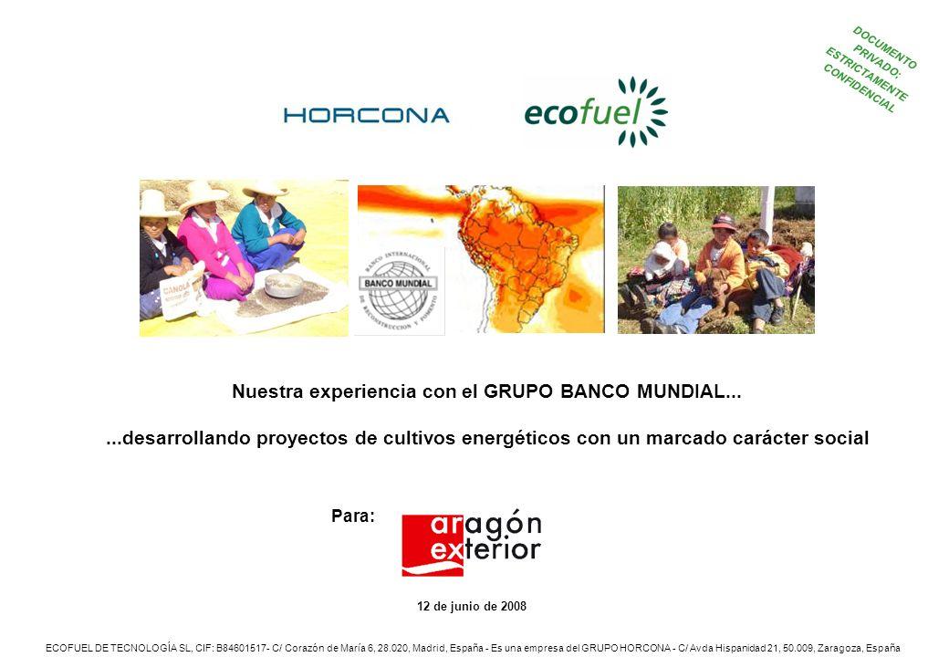 12 de junio de 2008 Nuestra experiencia con el GRUPO BANCO MUNDIAL...