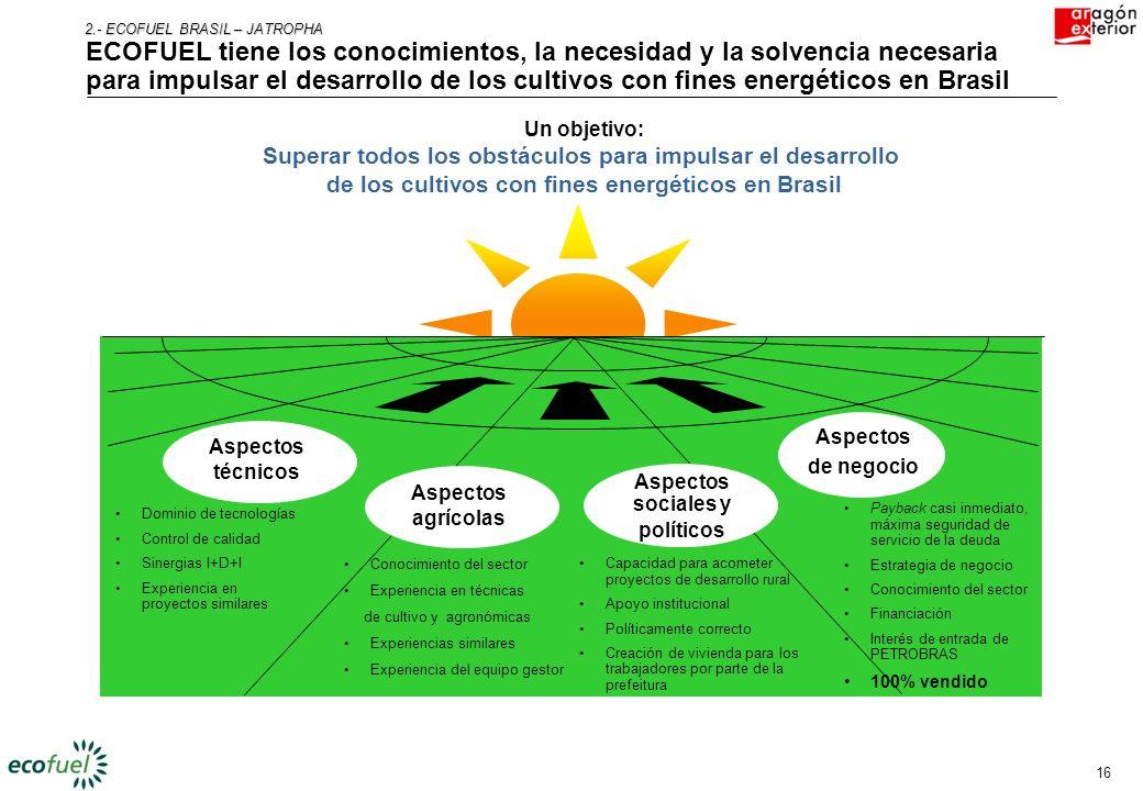 2.- ECOFUEL BRASIL – JATROPHA ECOFUEL tiene los conocimientos, la necesidad y la solvencia necesaria para impulsar el desarrollo de los cultivos con fines energéticos en Brasil