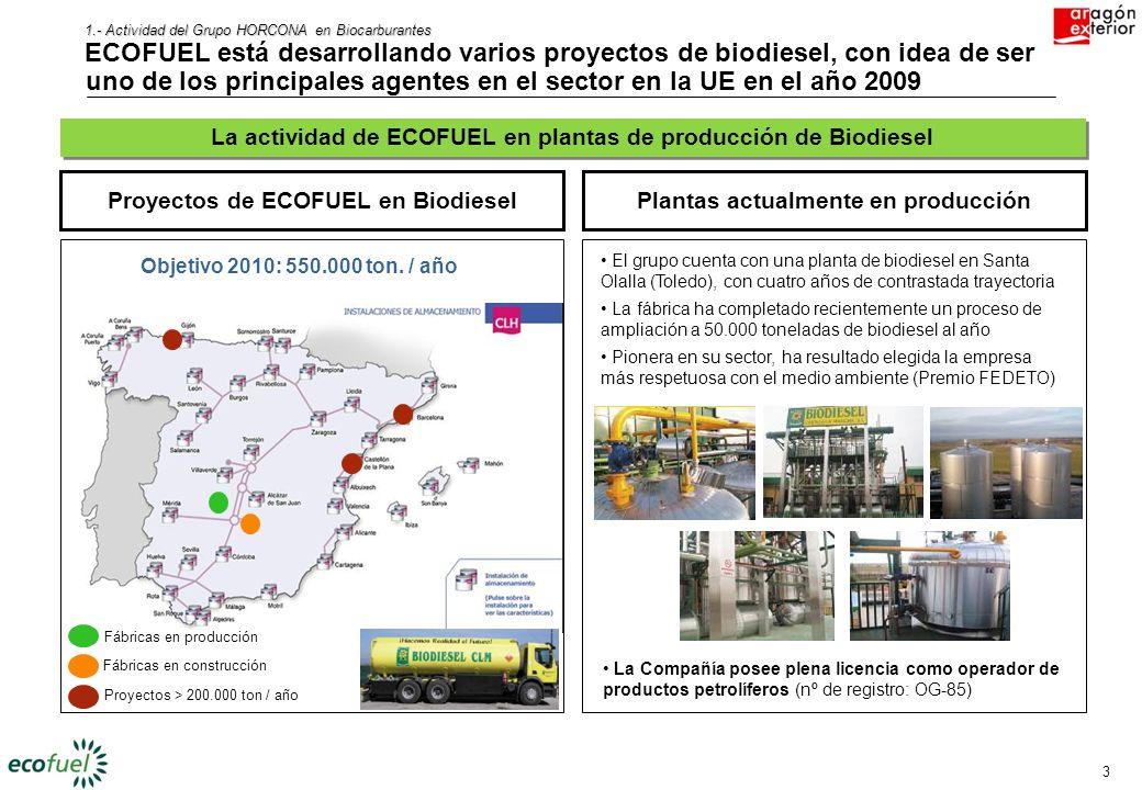 1.- Actividad del Grupo HORCONA en Biocarburantes