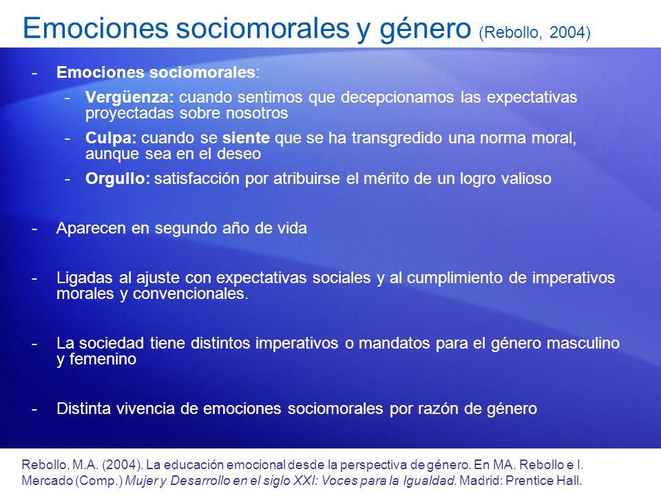 Emociones sociomorales y género (Rebollo, 2004)