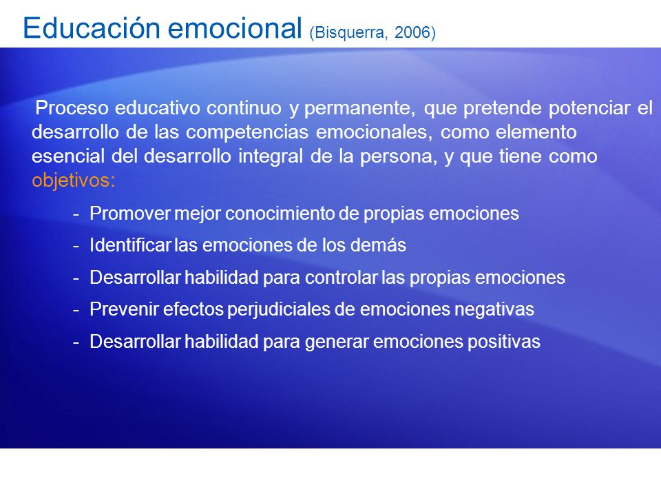 Educación emocional (Bisquerra, 2006)