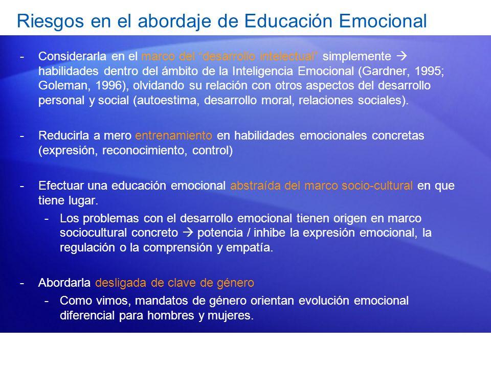 Riesgos en el abordaje de Educación Emocional