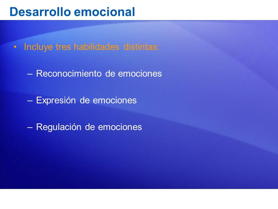 Desarrollo emocional Incluye tres habilidades distintas: