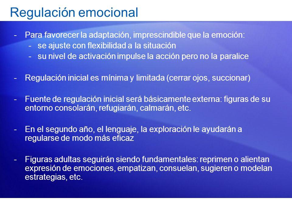 Regulación emocional Para favorecer la adaptación, imprescindible que la emoción: se ajuste con flexibilidad a la situación.