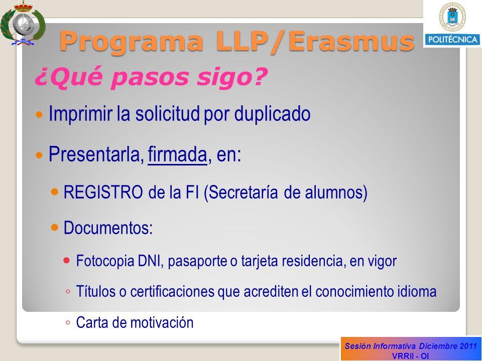 Programa LLP/Erasmus ¿Qué pasos sigo
