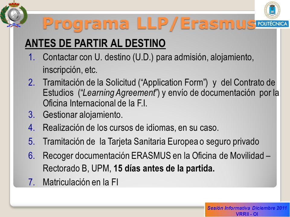 Programa LLP/Erasmus ANTES DE PARTIR AL DESTINO. Contactar con U. destino (U.D.) para admisión, alojamiento, inscripción, etc.