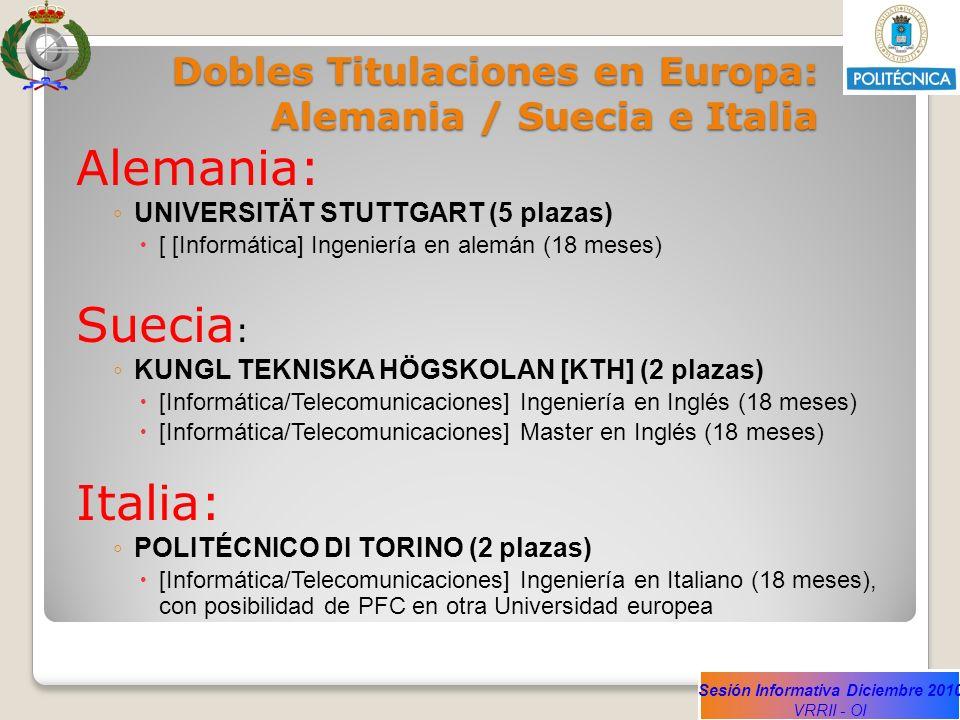 Dobles Titulaciones en Europa: Alemania / Suecia e Italia