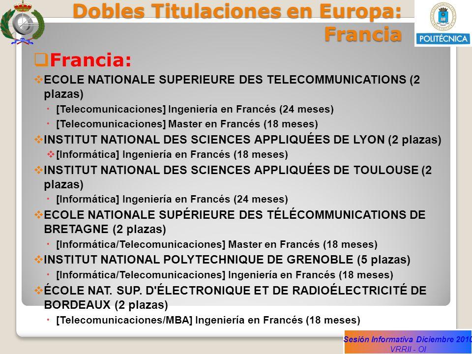 Dobles Titulaciones en Europa: Francia
