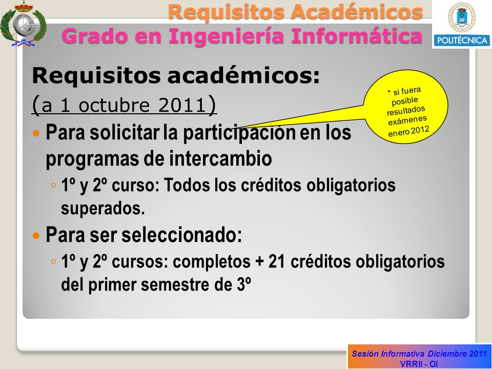 Requisitos Académicos Grado en Ingeniería Informática
