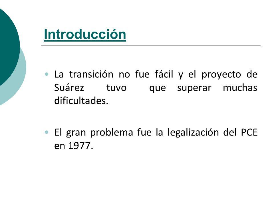 Introducción La transición no fue fácil y el proyecto de Suárez tuvo que superar muchas dificultades.