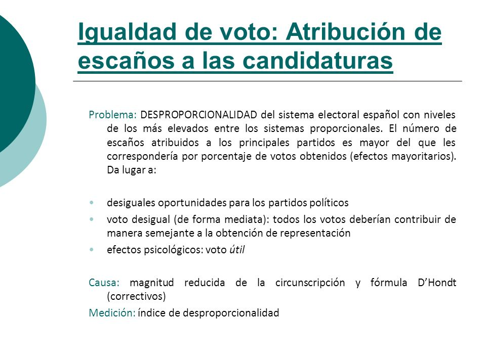 Igualdad de voto: Atribución de escaños a las candidaturas