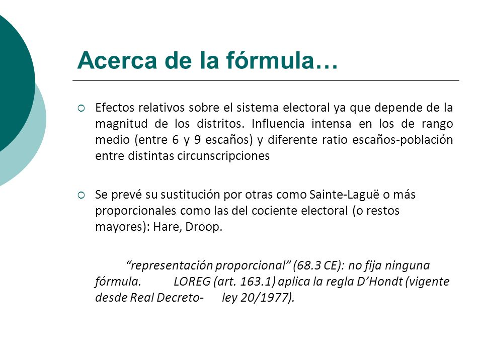 Acerca de la fórmula…