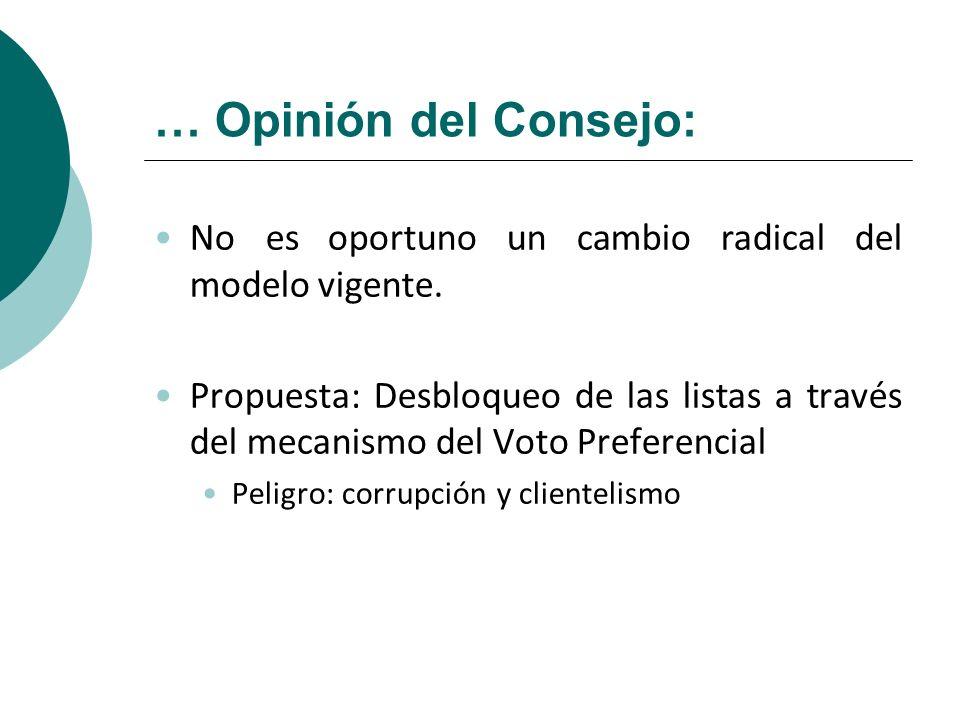 … Opinión del Consejo: No es oportuno un cambio radical del modelo vigente.