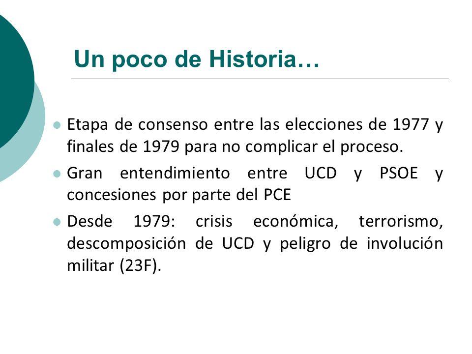 Un poco de Historia…Etapa de consenso entre las elecciones de 1977 y finales de 1979 para no complicar el proceso.