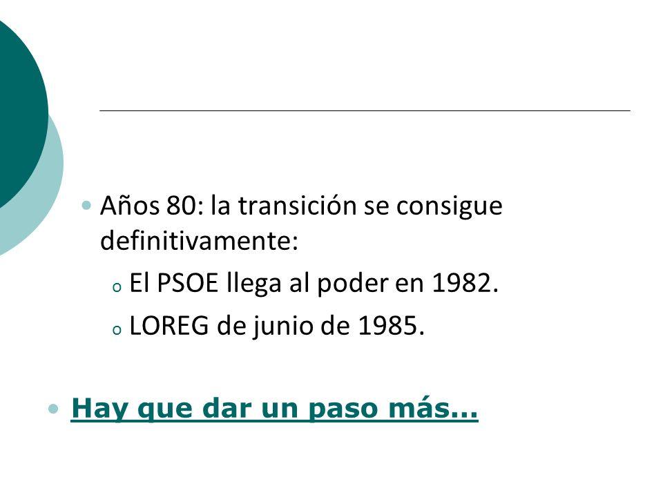 Años 80: la transición se consigue definitivamente: