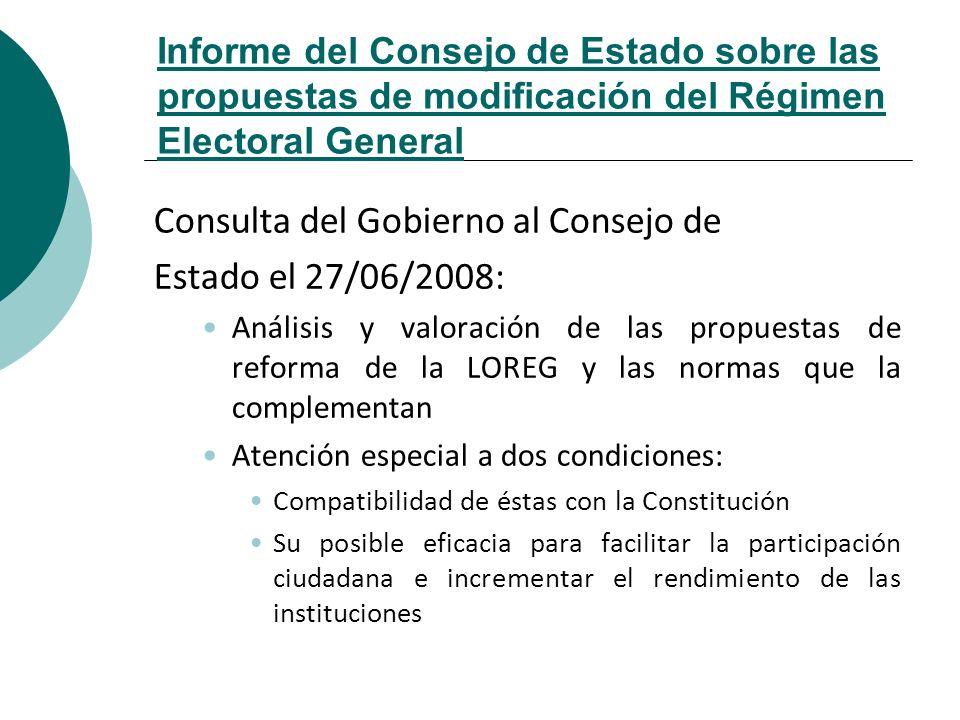 Consulta del Gobierno al Consejo de Estado el 27/06/2008: