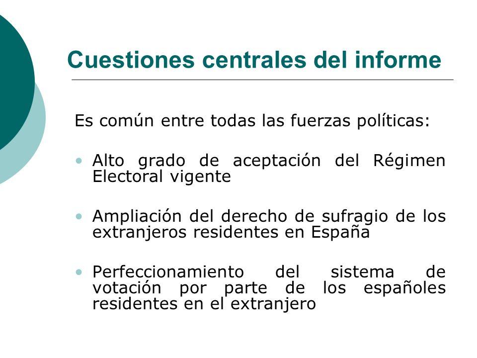 Cuestiones centrales del informe