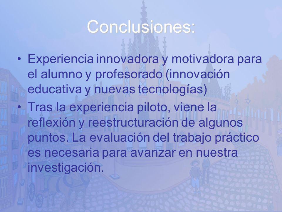 Conclusiones: Experiencia innovadora y motivadora para el alumno y profesorado (innovación educativa y nuevas tecnologías)