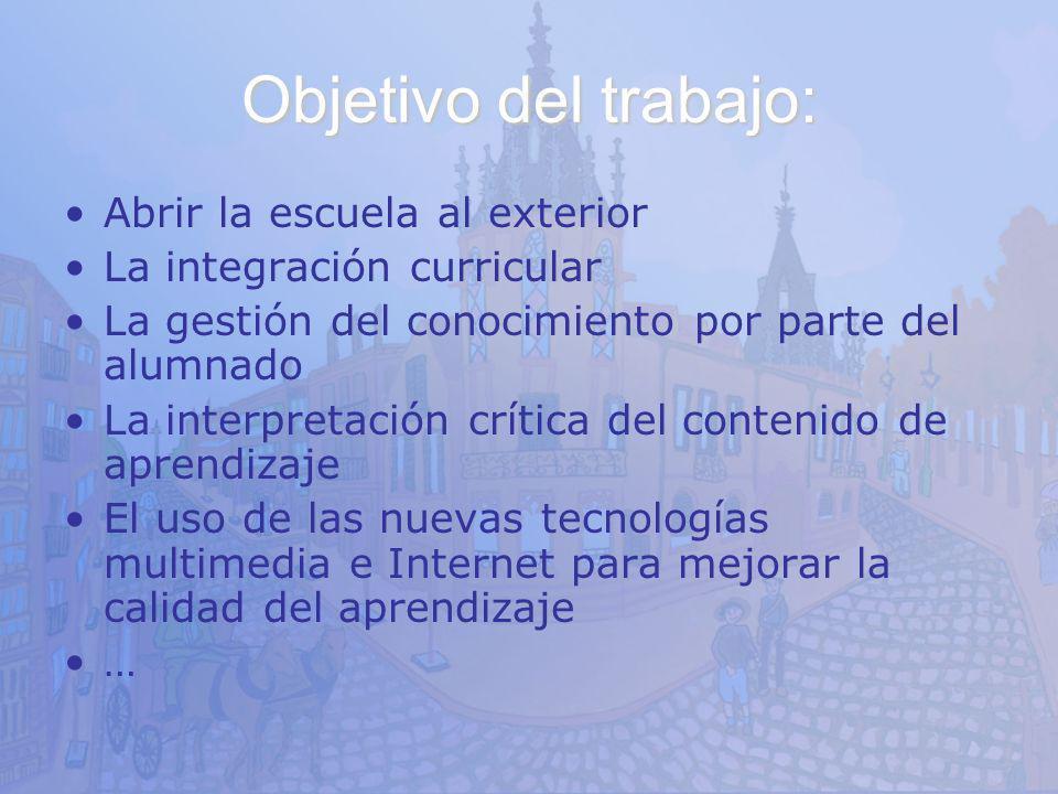 Objetivo del trabajo: Abrir la escuela al exterior