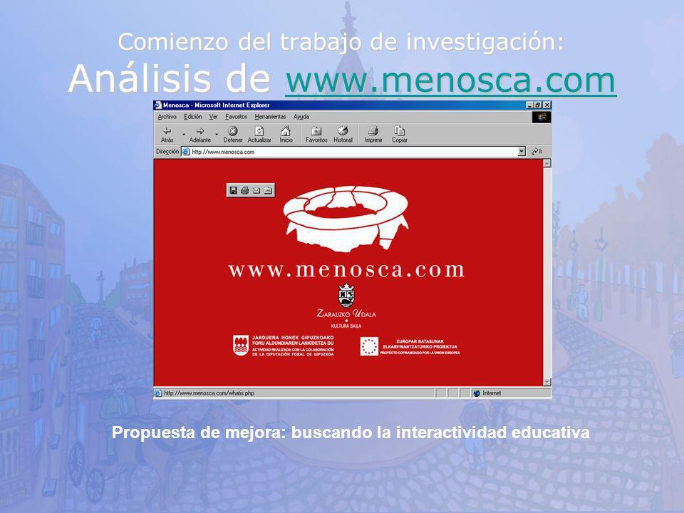Comienzo del trabajo de investigación: Análisis de www.menosca.com