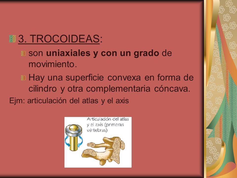 3. TROCOIDEAS: son uniaxiales y con un grado de movimiento.